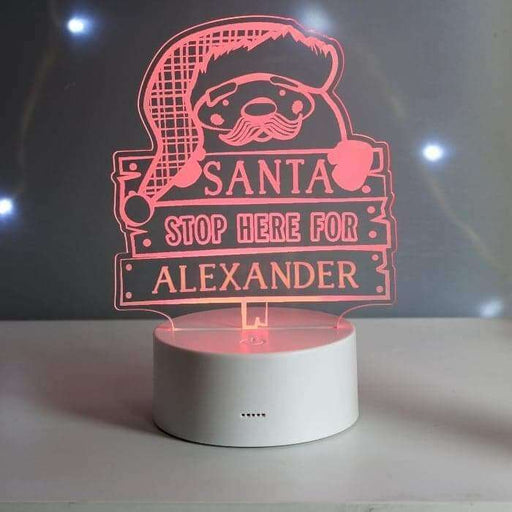Personalised Santa Stop Here LED Night Light from Pukkagifts.uk
