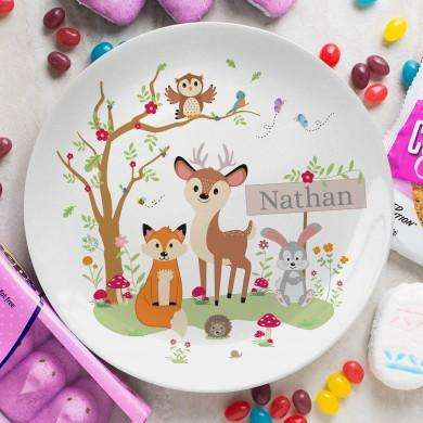 Children's Personalised Woodland Friends Plate 8 Inch from Pukkagifts.uk