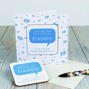Personalised Coaster Card - Bestest Daddy,Pukka Gifts