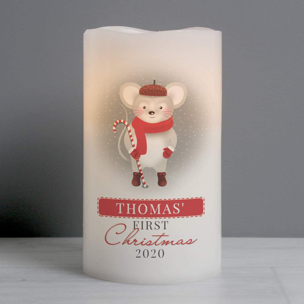 Personalised Baby's 1st Christmas Mouse Nightlight LED Candle