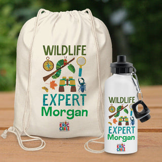Personalised Very Hungry Caterpillar Wildlife Expert Drawstring Bag & Drinks Bottle Set