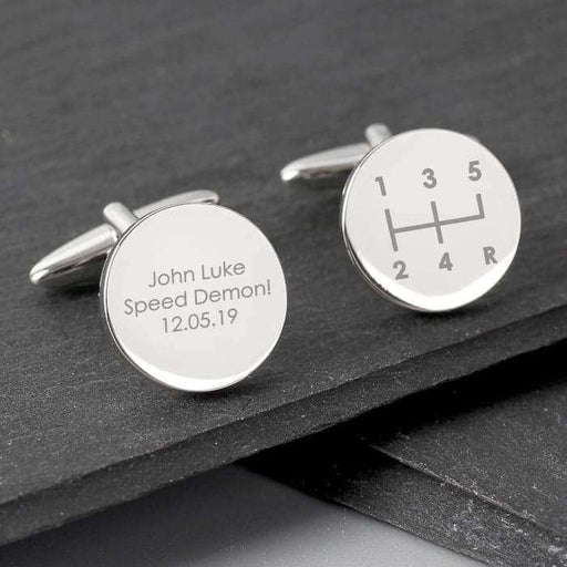 Personalised Gear Stick Round Cufflinks from Pukkagifts.uk