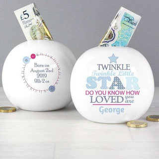 Personalised Boys Twinkle Twinkle Little Star Money Box from Pukkagifts.uk