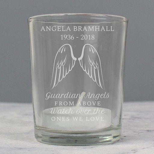 Personalised Guardian Angel Wings Votive Candle Holder from Pukkagifts.uk
