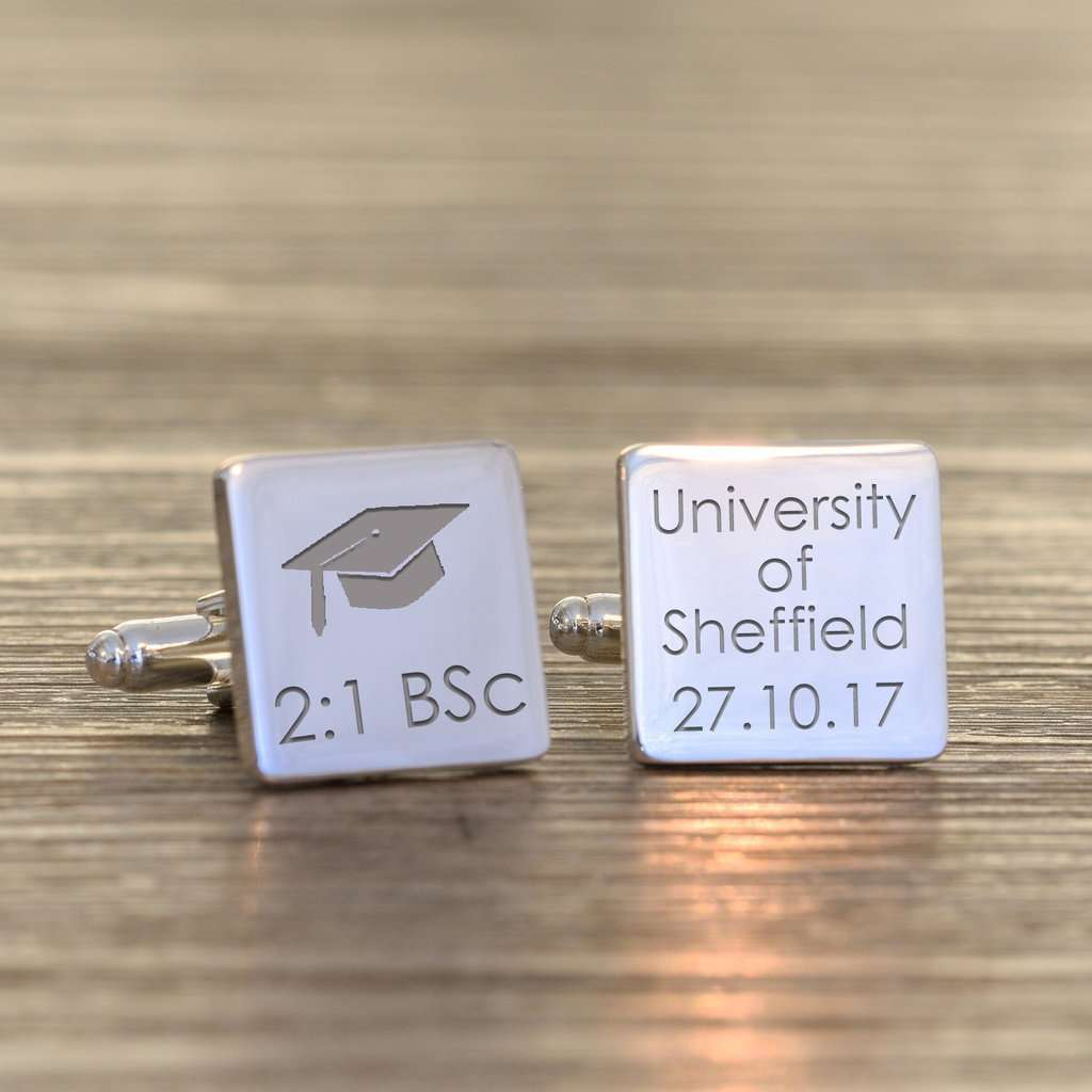 Engraved Graduation Square Cufflinks from Pukkagifts.uk