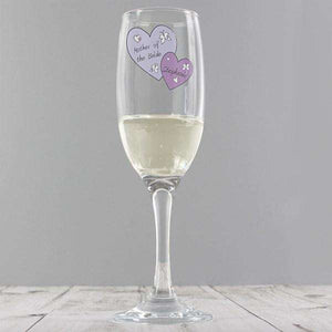 Personalised Butterfly Hearts Wedding Flute Glass from Pukkagifts.uk