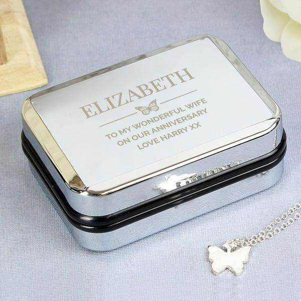 Personalised Box and Butterfly Necklace from Pukkagifts.uk