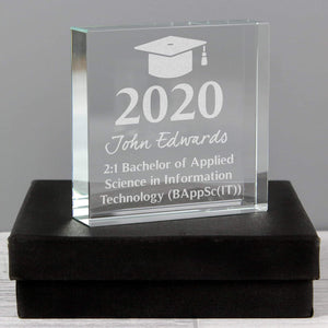 Personalised Graduation Large Crystal Token from Pukkagifts.uk