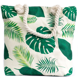 Tropical Greens Rope Handle Beach Tote Bag