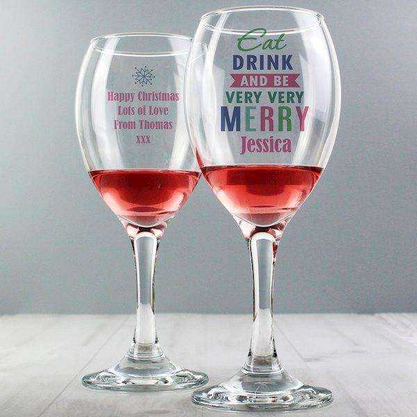 Personalised Eat Drink & Be Merry Wine Glass from Pukkagifts.uk