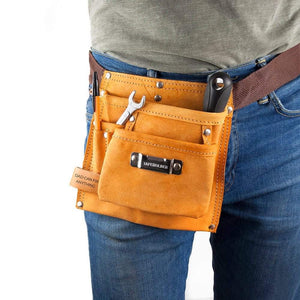 Personalised 6-Pocket Leather Tool Belt from Pukkagifts.uk