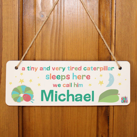 Personalised Very Hungry Caterpillar Tiny & Very Tired Hanging Door Sign