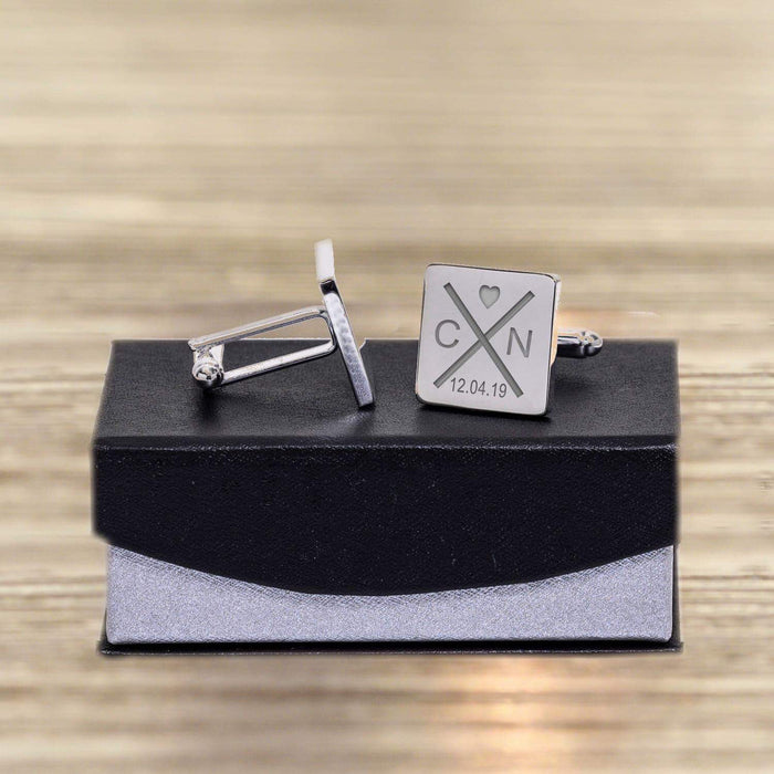 Personalised Initials With Heart Cufflinks - www.pukkagifts.uk