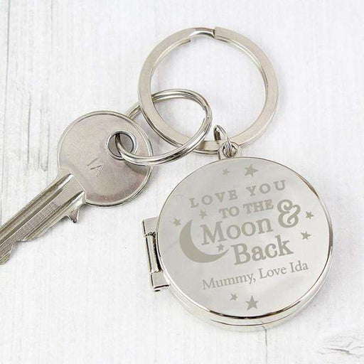 Personalised Love You To The Moon and Back Photo Locket Keyring from Pukkagifts.uk