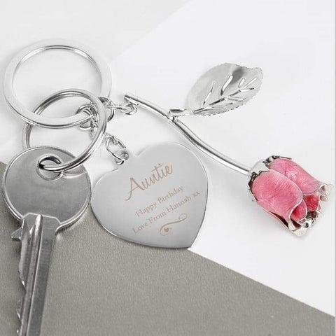 Personalised Silver Plated Swirls & Hearts Pink Rose Keyring | Gift For Her | Mum | Wife | Girlfriend