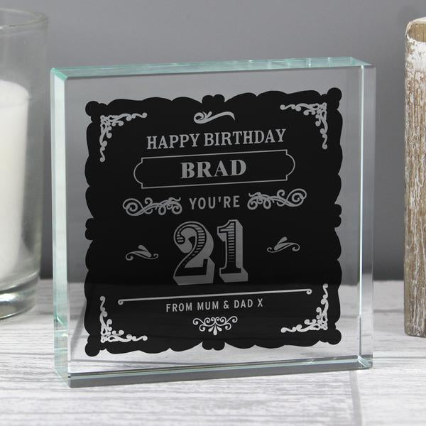 Personalised Birthday Age Vintage Typography Large Crystal Token