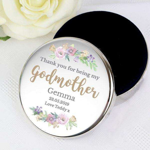 Personalised Thank You For Being My Godmother Round Trinket Box from Pukkagifts.uk