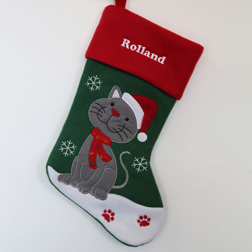 Personalised Embroidered Pet Cat Christmas Stocking