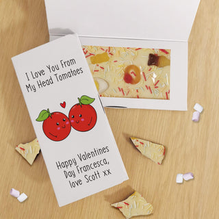 Personalised I Love You From My Head Tomatoes White Chocolate Card