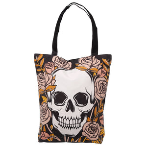 Skulls & Roses Cotton Zip Up Shopping Bag