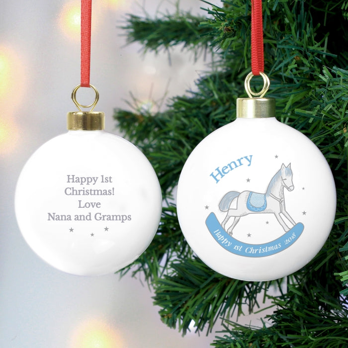 Personalised 1st Christmas Blue Rocking Horse Bauble from Pukkagifts.uk