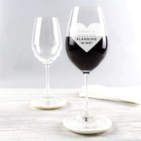 Personalised Etched Heart Wine Glass,Pukka Gifts