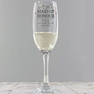 Personalised Maid Of Honour Champagne Glass Flute from Pukkagifts.uk