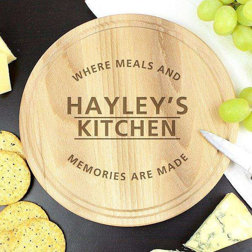 Engraved 'Meals and Memories' Round Chopping Board from Pukkagifts.uk
