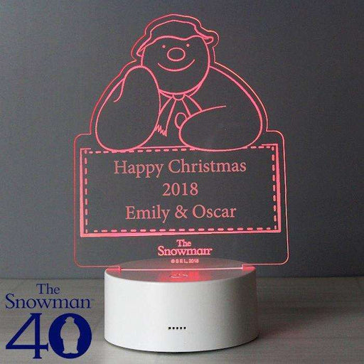 Personalised The Snowman LED Colour Changing Decoration Night Light from Pukkagifts.uk