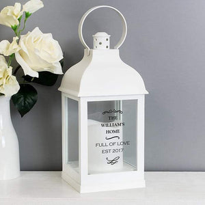 Personalised Antique Scroll White Lantern from Pukkagifts.uk