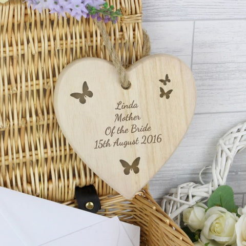 Personalised Butterfly Chunky Wooden Heart Decoration from Pukkagifts.uk