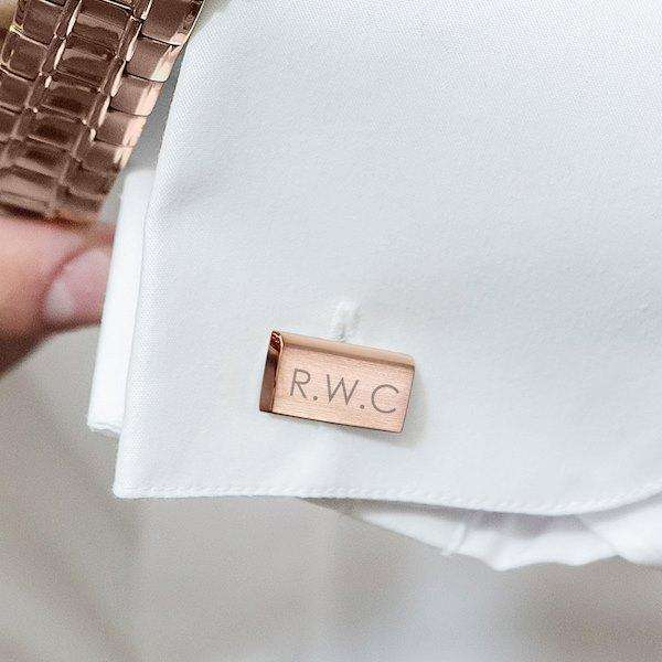 Personalised Modern Rose Gold Plated Cufflinks from Pukkagifts.uk