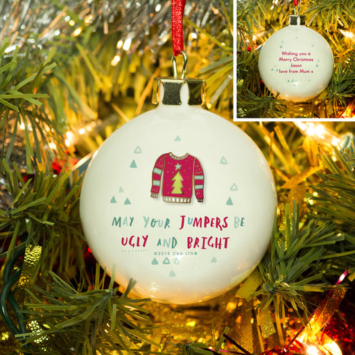 Personalised May Your Jumpers Be Ugly & Bright Christmas Bauble