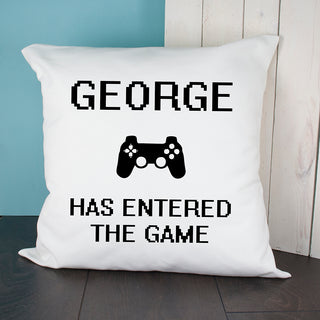 Personalised Baby Has Entered The Game Cushion Cover from Pukkagifts.uk