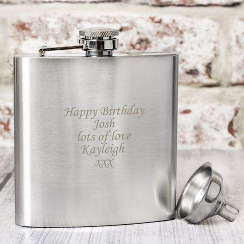 Personalised Boxed Stainless Steel Hip Flask,Pukka Gifts