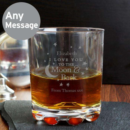Personalised To the Moon and Back Glass Tumbler from Pukkagifts.uk