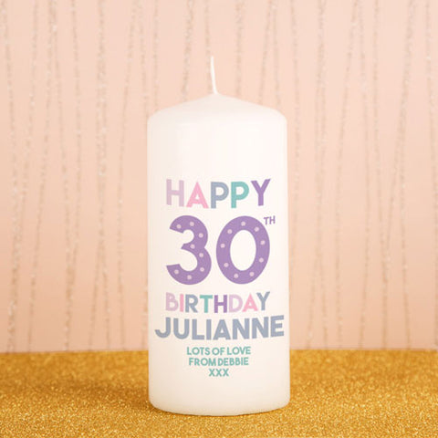 Personalised 30th Birthday Candle from Pukkagifts.uk