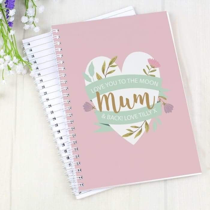 Personalised Floral Heart A5 Notebook from Pukkagifts.uk