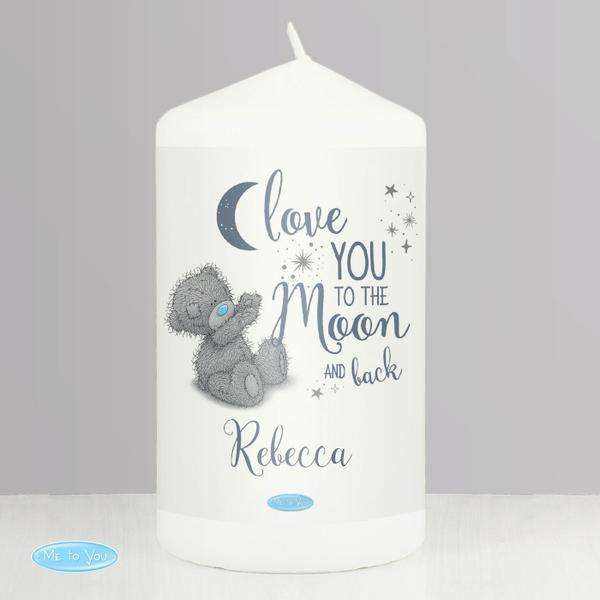 Personalised Me to You 'Love You to the Moon and Back' Pillar Candle from Pukkagifts.uk