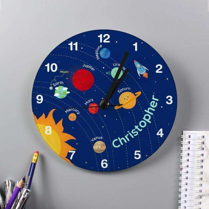 Personalised Kids Solar System Clock from Pukkagifts.uk
