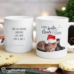 Personalised Rachael Hale Santa Claws Christmas Cat Mug from Pukkagifts.uk