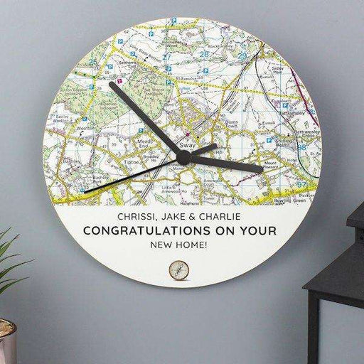 Personalised Present Day Map Compass Wooden Clock from Pukkagifts.uk