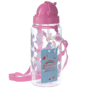 Childrens Unicorn Princess Water Bottle with Straw & String 450ml