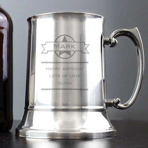 Personalised Diamond Stainless Steel Tankard from Pukkagifts.uk