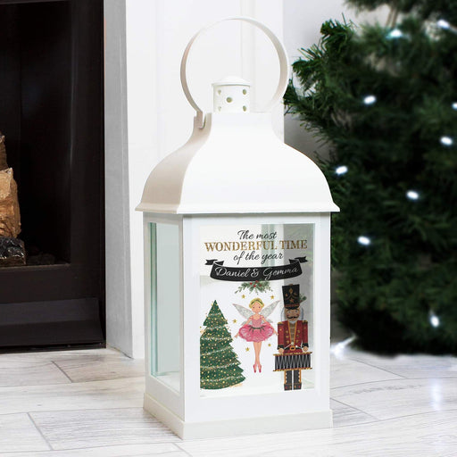 Personalised Nutcracker Christmas White Lantern