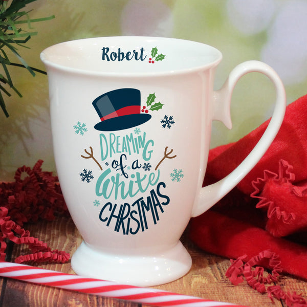 Personalised Dreaming Of A White Christmas Marquee Mug
