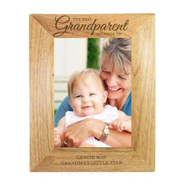 Personalised 5x7 'The Best Grandparent' Wooden Frame from Pukkagifts.uk