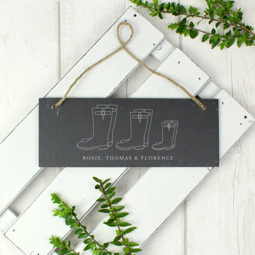 Personalised Welly Boot Family of Three Hanging Slate Sign