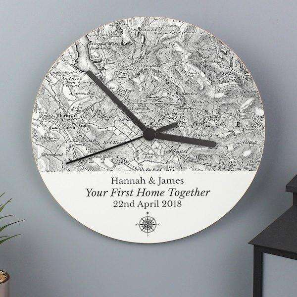Personalised 1805 - 1874 Old Series Map Compass Wooden Clock from Pukkagifts.uk