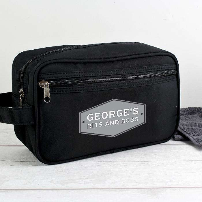 Personalised Men's Black Wash Bag from Pukkagifts.uk